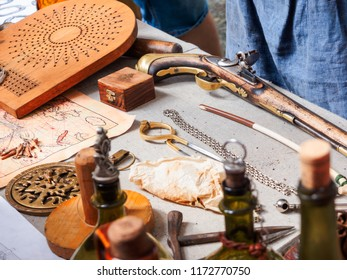 MOSCOW, RUSSIA - August 19, 2018. Antique instruments for navigation at the festival Times and Epochs. Historical reconstruction of different centures.