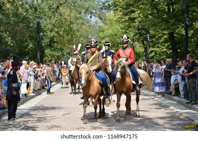 """Moscow, Russia- August 19,2018: festival """"Times and Epochs""""a column of horsemen of the times of 1812"""