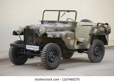 MOSCOW, RUSSIA - AUGUST 2, 2014: GAZ-64 USSR 1940s military off-road vehicle. Soviet Russian old cars exhibition on VDHKh.