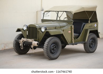 MOSCOW, RUSSIA - AUGUST 2, 2014: GAZ-67 USSR 1940s military off-road vehicle. Soviet Russian old cars exhibition on VDHKh.