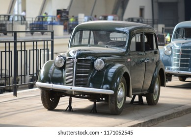 MOSCOW, RUSSIA - AUGUST 2, 2014: rare KIM-10-52 made in USSR 1940s compact car. Soviet Russian old cars exhibition on VDHKh.