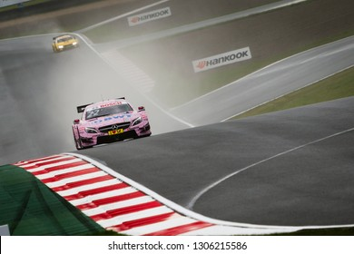 Moscow, Russia - August 20, 2016: Lucas Auer (Mercedes-AMG DTM Team Mucke) driving a Mercedes-AMG C63 DTM at the DTM stage at Moscow Raceway