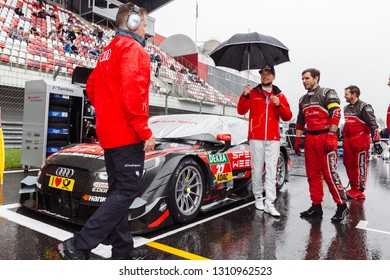 Moscow, Russia - August 20, 2016: Adrien Tambay (Audi Sport Team Rosberg) and his Audi RS5 DTM at starting grid before the rain DTM race at Moscow Raceway
