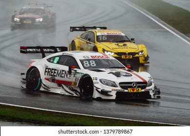 Moscow, Russia - August 20, 2016: Felix Rosenqvist (Mercedes-AMG DTM Team ART) driving a Mercedes-AMG C63 DTM during DTM rain race at Moscow Raceway