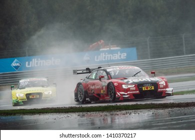 Moscow, Russia - August 20, 2016: Miguel Molina (Audi Sport Team Abt Sportsline) driving a Audi RS5 DTM during DTM rain race at Moscow Raceway