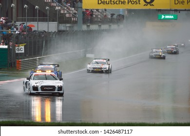 Moscow, Russia - August 20, 2016: Audi R8 V10 Plus safety car during DTM race at Moscow Raceway