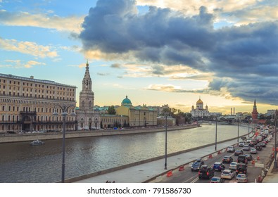MOSCOW, RUSSIA - AUGUST 20, 2016: The streets of the city in the summer