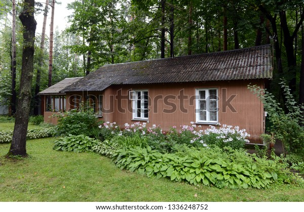 MOSCOW, RUSSIA - AUGUST 20, 2016: House on the territory of the Museum of Nobel laureate Boris Pasternak in Peredelkino