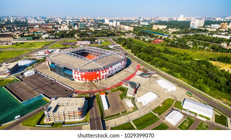 Moscow, Russia - August 20, 2017: Aerial panoramic view of Spartak Stadium (Otkritie Arena) in summer. Spartak Stadium has been selected for the 2018 FIFA World Cup. The modern stadium from above.