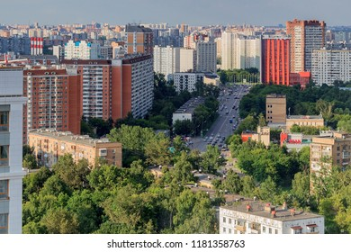 MOSCOW, RUSSIA - August 20, 2017: Sviblovo District is an administrative district of North-Eastern Administrative Okrug, and one of the raions of Moscow, Russia. View above.