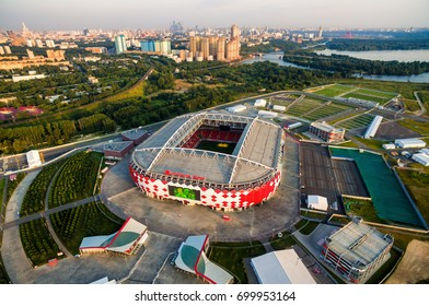 Moscow, Russia - August 20, 2017: Aerial view of Moscow with Spartak Stadium (Otkritie Arena). Spartak Stadium has been selected for the 2018 FIFA World Cup. Spartak is the new stadium for soccer.