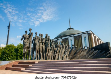 """MOSCOW, RUSSIA - AUGUST 20, 2017: The """"Tragedy of Nations"""" Monument is a Holocaust memorial in the Victory Park at Poklonnaya Hill."""