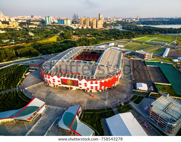 Moscow, Russia - August 20, 2017: Aerial view of Spartak Stadium (Otkritie Arena) in summer. Spartak has been selected for the 2018 FIFA World Cup in Russia. Modern football stadium exterior.