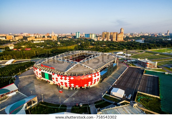 Moscow, Russia - August 20, 2017: Aerial panoramic view of Moscow with Spartak Stadium (Otkritie Arena). Nice Spartak Stadium has been selected for the 2018 FIFA World Cup.