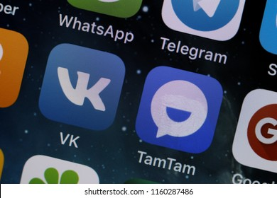 Moscow, Russia - August, 20 2018  Social media applications displayed on the screen of a smartphone