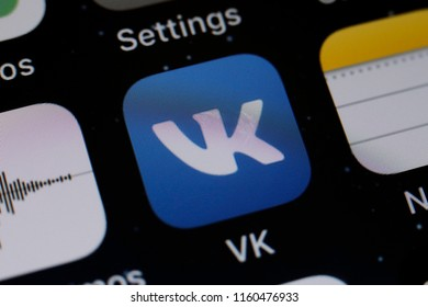 Moscow, Russia - August, 20 2018 Vkontakte application is displayed on the screen of a smartphone