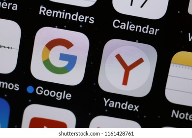 Moscow, Russia - August, 20 2018  The apps of Google and Yandex are displayed on a smartphone