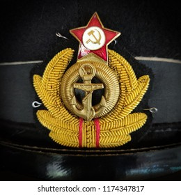 Moscow, Russia - August 20, 2018: cockade of the navy former USSR - a sailors cup