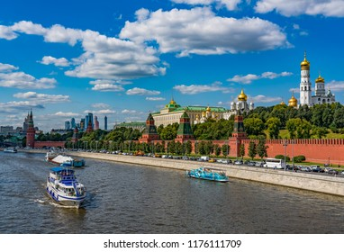 Moscow, Russia - August 20, 2018: Panoramic view of Moscow Kremlin from the Moscow river.
