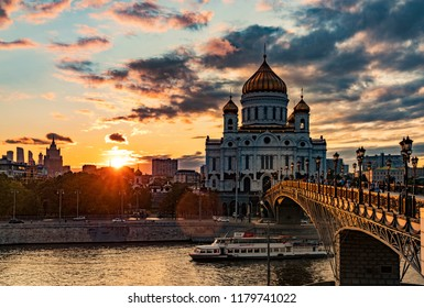 Moscow, Russia - August 20, 2018: Bridge at the Cathedral of Christ the Savior of Moscow.