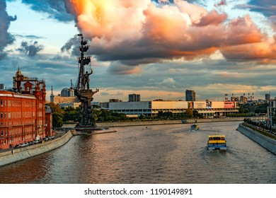 Moscow, Russia - August 20, 2018: Night view of the monument to Peter the Great at the Moscow River, Moscow, Russia.