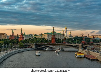 Moscow, Russia - August 20, 2018: Panoramic view of Moscow Kremlin from the bund of Moscow.