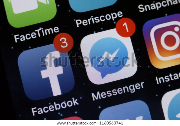 Moscow, Russia - August 20, 2018 Social media applications are displayed on the screen of a smartphone.