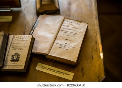 Moscow, Russia - August 2017: Books - The Odyssey by Homer -  Parallel Lives of the Noble Greeks and Romans by Plutarch - Interior of The Alexander Pushkin Memorial Museum in Moscow