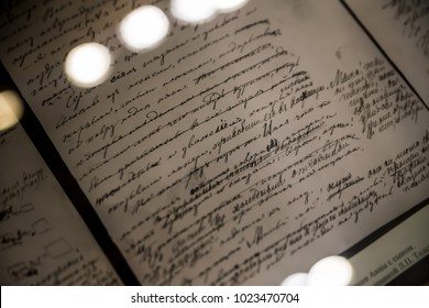 """Moscow, Russia - August 2017: Detail - Manuscript of Tolstoy's Novel """"Anna Karenina"""" - Interior of The Leo Tolstoy State Museum in Moscow"""