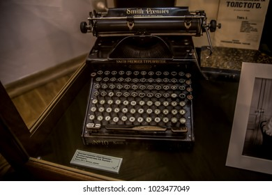 Moscow, Russia - August 2017: Detail - The Typewriter - Interior of The Leo Tolstoy State Museum in Moscow