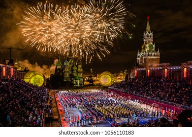 "Moscow, Russia - August, 2017: Firework pyrotechnic show on International Military Tattoo Music Festival ""Spasskaya Tower"" in Moscow, Russia"