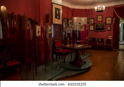 Moscow, Russia - August 2017: Interior of memorial museum The Gogol House, the house where Nikolai Gogol spent the last four years of his life