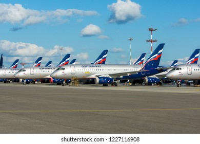 Moscow, Russia - August, 2017: Regional civil aircraft Sukhoi Superjet 100 of Aeroflot Russian Airlines parked on the airfield of Sheremetyevo international airport