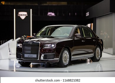 Moscow, Russia - August, 2018: Aurus Senat car on Moscow International Automobile Salon 2018 in Russia