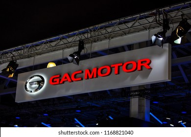 Moscow, Russia - August, 2018: GAC Motor logo sign on Moscow International Automobile Salon 2018 in Russia