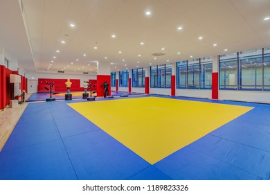 Moscow, Russia - August, 2018. Hall of martial arts with fighting ring in the modern elementary school.