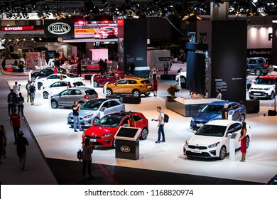 Moscow, Russia - August, 2018: Kia motors stand on Moscow International Automobile Salon 2018 in Russia