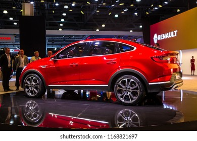 Moscow, Russia - August, 2018: New car Renault Arkana on exhibition stand on Moscow International Automobile Salon 2018 in Russia