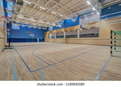 Moscow, Russia - August, 2018: public school, interior wide gym. Empty sports court