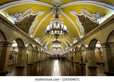 Moscow, Russia - August, 2018:The metro station Komsomolskaya in Moscow.