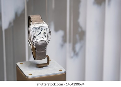 Moscow, Russia - August 2019: Cartier Wristwatches Close-Up In Window Case Luxury Jewerely Store in Moscow.