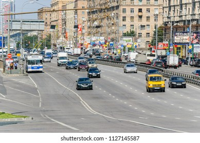 MOSCOW, RUSSIA - August 21, 2010: Cars and public transport on prospect Mira