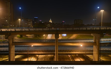 Moscow, Russia - August 21, 2016: Empty roads and flyovers of Moscow at night. Night panorama of the big city.