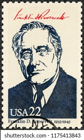 MOSCOW, RUSSIA - AUGUST 21, 2018: A stamp printed in USA shows Portrait of Franklin Delano Roosevelt (1882-1945), 32th president of the United States, series Presidents of USA, 1986
