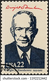 MOSCOW, RUSSIA - AUGUST 21, 2018: A stamp printed in USA shows Portrait of Dwight D. Eisenhower (1890-1969), 34rd President, series Presidents of USA, 1986