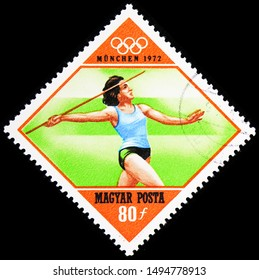 MOSCOW, RUSSIA - AUGUST 21, 2019: Postage stamp printed in Hungary shows Javelin Throw, Summer Olympics 1972, Munich serie, circa 1972
