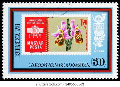 MOSCOW, RUSSIA - AUGUST 21, 2019: Postage stamp printed in Hungary shows Ophrys fuciflora - Late Spider-Orchid, Stamp Exhibition serie, circa 1973