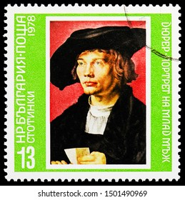 MOSCOW, RUSSIA - AUGUST 22, 2019: Postage stamp printed in Bulgaria shows Albrecht Dürer: Bernhart van Resten, Paintings by the Great Masters serie, circa 1978