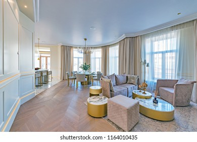 Moscow, Russia - August 23, 2018: Interior of the luxury rich appartments in the historical city center.