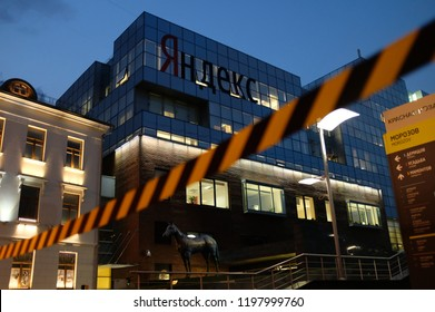 MOSCOW, RUSSIA - August 23, 2018: Logo of the Company of Yandex on the Headquarters Building of Yandex Company in Moscow.